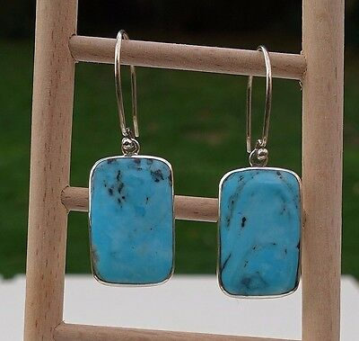 Natural Turquoise Dangle Earrings Sterling Silver