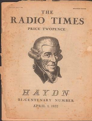 Radio Times Special Haydn Bicentenary Issue April 1932 BBC TV television Compose