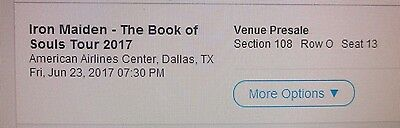 1 Dallas Iron Maiden- The Book Of Souls Tour 2017 Ticket