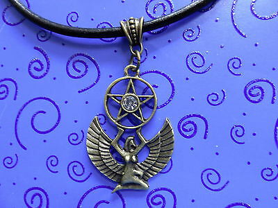 """Queen-Egyptian Victorian BP Winged ISIS Pendant 18"""" Leather Necklace Free Ship"""