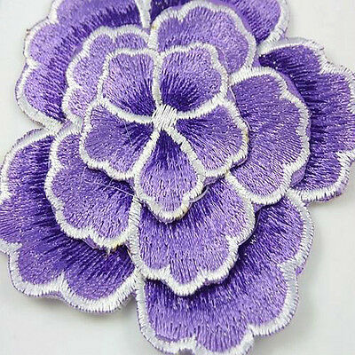 2-Tone Purple Flower Satiny Embroidered Applique 3 inch Iron-On * 3 layers