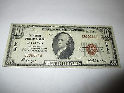 $10 1929 Netcong New Jersey NJ National Currency Bank Note Bill Ch. #6692 FINE!