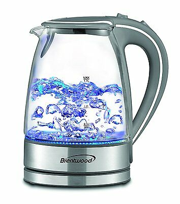 Electric Tea Kettle w Tempered Glass LED Light BPA Free 1.7 Liter Silver