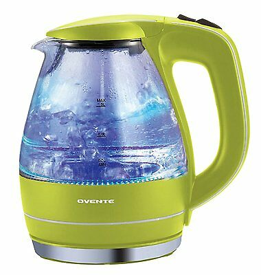 Electric Kettle Water Boiler BPA Free Glass Cordless LED Light 1.5 Liter Green