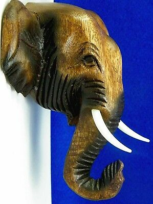 Wooden Brown Elephant Head Carved Hanging Wall Art Collectible Free Shipping