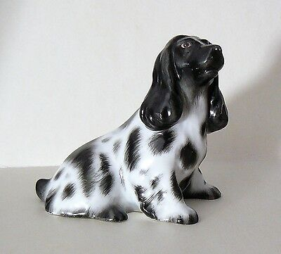 HEREND Porcelain Dog Figurine - SEATED BLACK & WHITE COCKER SPANIEL - Excellent