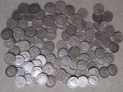 Hoard Of 90 X Silver Threepence Coins. Mixed Dates.  Job Lot.