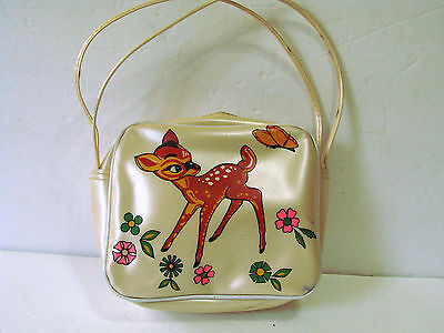 Vintage Child's BAMBI Vinyl PURSE Deer Fawn Butterfly Flowers 1960's