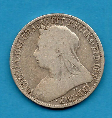 1896 Florin Coin. Queen Victoria Veiled Head Sterling Silver 2/-. Two Shillings.