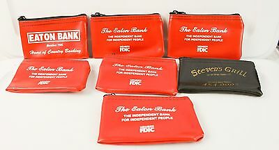 Lot of 7 Vintage Small Bank Bags Eaton Colorado Bank Steven's Grill Red Black