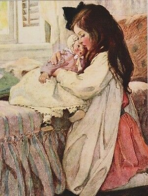 """*Postcard-""""Little Girl Holds Her Doll @ Bedside""""   -Classic-"""