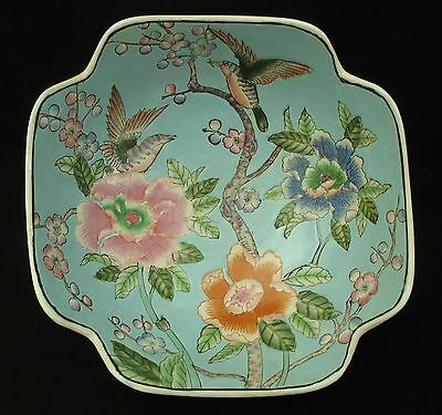 Antique Chinese Hand Painted Ceramic large Bowl Aqua inside Floral Detail