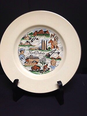 Wyoming State Collectable Plate, Eskimoes Salmon Bears Gold General Custer