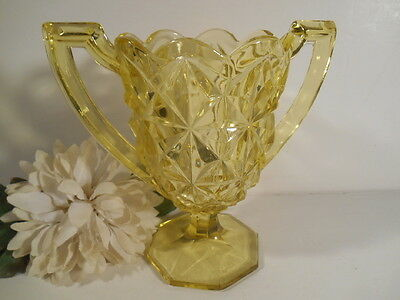 Vintage Vaseline Glass Diamond Cut Footed Urn Vase Yellow Scallop Edge