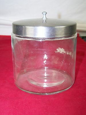 Glass Jar With Stainless Lid Vintage Heavy Medical Doctor