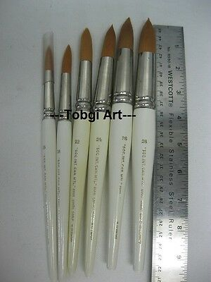 Large Artist Quality Watercolor Brush Golden Syn. Sable Round 6-SIZES to Choose