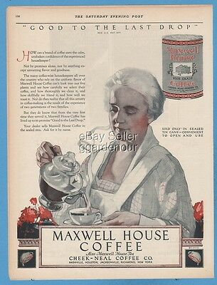 1923 Maxwell House Coffee Good to the last drop Can C C Beall Art Cheek Neal Ad