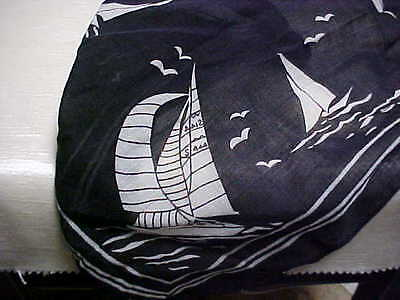 Vintage 1950's Scarf  or Handkerchief White Sailboats on Black Background