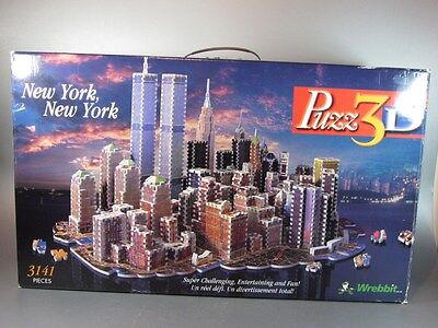 Vintage PUZZ 3D NEW YORK 1997 WREBBIT PUZZLE Twin Towers 3141 pieces