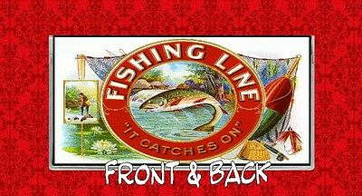 Fishing Line Trout Stream Lures Fly Pole Ore Vintage Ad Vinyl Checkbook Cover