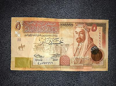 FIVE 5 Dinars , JORDAN Banknote 2014, Valuable World Money, Foreign Currency