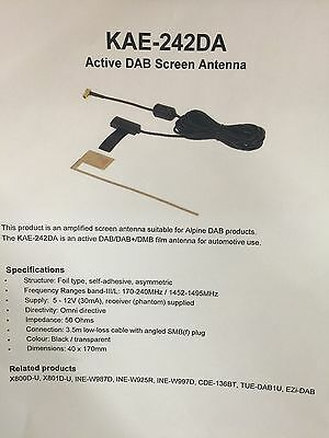 Alpine Kae-242da Latest Dab+ Digital Radio Internal Glass Mount Aerial Antenna