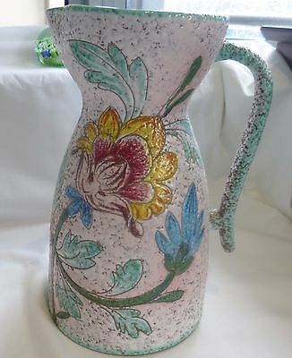 Collectable Hand crafted 1950S big jug (vase) made by Italy H: 26cm