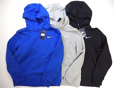 Nike boys Brushed Fleece Pullover hoodie pick color blue black gray NWT 619080