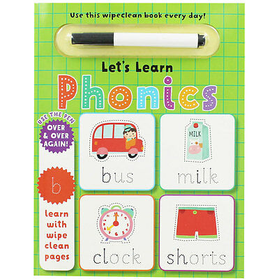 Wipe Clean Lets Learn Phonics, Children's Books, Brand New