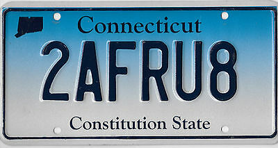 Connecticut Constitution State License Plate Without Dot Separator # 2Afru8