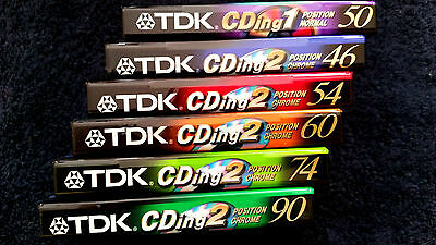 6 x (1) TDK CDing1 + (5) CDing2  [2001] Blank Audio Cassette Tapes NEW sealed