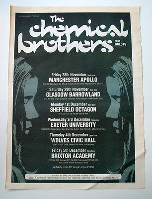 Chemical Brothers - UK Tour dates - 1997 Original MUSIC ADVERT POSTER A3 size