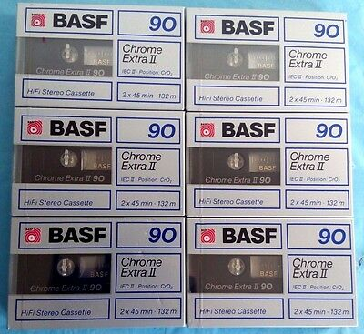 6 x BASF Chrome Extra CE II 90 [1988-89] Blank Audio Cassette Tapes NEW sealed