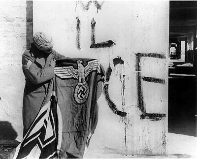 Sikh Soldier Indian Army Red Eagles Nazi Captured Swastika Flag 1945 Italy Photo