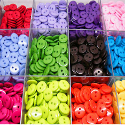 Best 100PCs Candy Colors Round Resin Sewing 2 Holes Buttons Embellishment Newest
