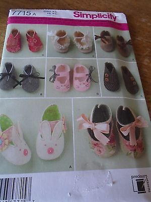 """7715 Patron """"simplicity """" 7 Versions Chaussures Chaussons Bebe 1Er Age"""