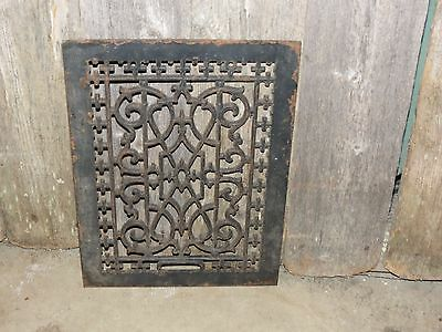 "Antique Large Cast Iron 16""x12"" Victorian Cold Air Return Floor Grate Register"