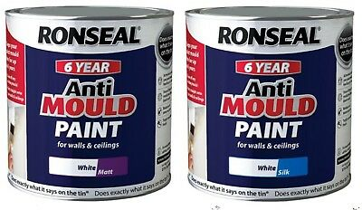 Ronseal 6 Year Anti Mould White Silk / White Matt Paint 2.5 litre two finishes
