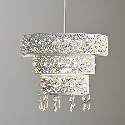 New Large Three 3 Tier White Floral Cut Out Lampshade Pendant Ceiling Lightshade