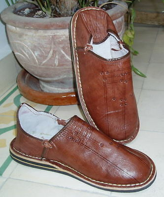 MOROCCAN LEATHER BABOUCHE Slippers  BROWN 11/45