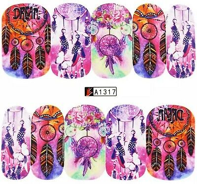 Nail Art Decals Transfers Stickers Dreamcatchers On Pink (A-1317)