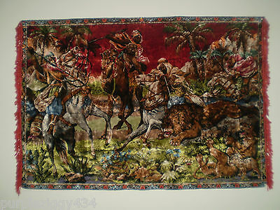 "Vintage Arabian Hunter  Themed Tapestry Wall Hanging ~ 5'6"" X 3'10.5 ""~Very Nice"