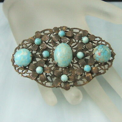 Vintage Large Flower Sash Pin Brooch Aqua Glass Cab