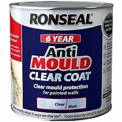 Ronseal 6 Year Anti Mould Paint Clear coat for Walls & Ceilings 750mm  2.5 Litre