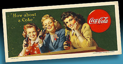 Coca Cola | Altes Kleines Pappschild 1949   How About A Coke | Litho In U.s.a.