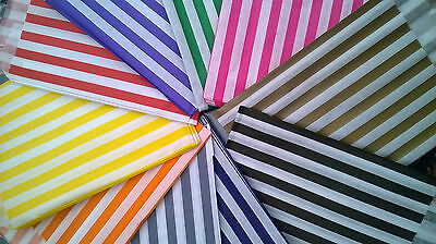 """Candy striped paper bags 5x7"""" x 50 choose colours party sweet loot gift shop"""