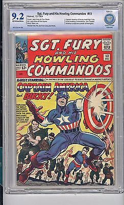Sgt. Fury #13   Cbcs   9.2  Nm-   Classic Cap America Cover!   Ow/white Pages!