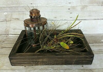 Rustic Serving Tray Box Dark Brown Table Handmade Reclaimed Wood Centerpiece