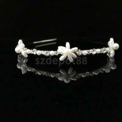 Crystal Rhinestone Pearl Flower Headband Headpiece Bridal Wedding Prom Tiara