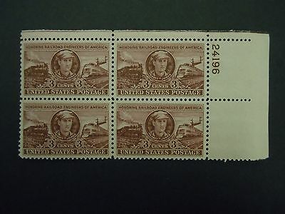 "1950 #993 3c Casey Jones Plate Block MNH OG F/VF ""Includes Mount"""